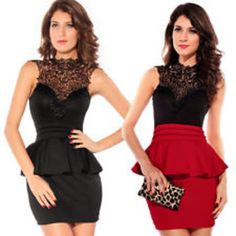 Hollow-out back sleeveless bodycon black/red frill dresses