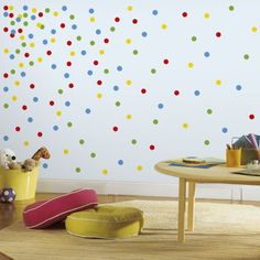 Confetti wall featuring primary confetti. Easy DIY with peel and stick wall dots.