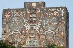 Central Library of the National Autonomous University of Mexico. The outside of the library building is covered with various murals, which were painted by Juan O'Gorman. It currently holds around 400,000 books.