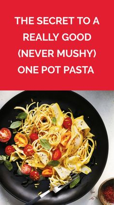 This easy step is the key to perfectly cooked pasta (and you already know how to do it). Make this easy one pot pasta tonight and file the recipe for weeks to come. Veggie Recipes, Pasta Recipes, Chicken Recipes, Dinner Recipes, Healthy Recipes, Pasta Meals, Healthy Tips, Healthy Food, Pasta Nutrition