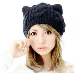 2013 Fashion Korean Women Lady Devil Horns Cat Ear Crochet Braided Knit Ski Beanie Wool Hat Cap Winter Warm Beret HTZZM-087 $6.20