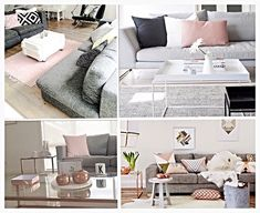 Living room set up and color scheme ideas. Grey, black, white, blush, copper, and browns. Neutrals with some personality. Patterns and textures as well to add visual interest.