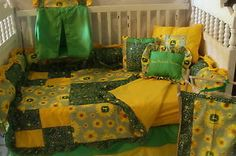 Sunflower John Deere Baby bedding - Free personalized pillow