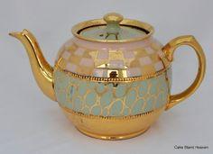 Sadler Vintage Pink, Green and Gold Lustre Teapot