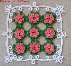 SALE - SALE - SALE  Ready to ship!  Test your with this elegant doily as beautiful as a bouguet of fresh roses! I made this doily in technique of cro-tatting.  Cro-tatting combines needle tatting with crochet. Many people consider cro-tatting more difficult than crochet or needle tatting.Cro-tatting is most popular in Japan. Tatting is a technique for handcrafting a particularly durable lace constructed by a series of knots and loops. Tatting dates to the early 19th century. Its a rare…