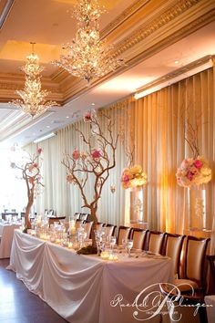 pretty manzanita trees with peonies grace the elegant head table at Rosewater supper club