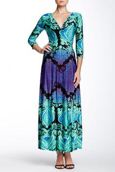 3/4 Paisley Print Wrap Maxi Dress by LIX on @HauteLook