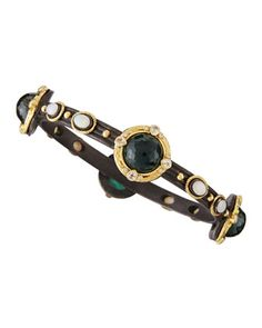 Malachite & London Blue Topaz Doublet Bangle Bracelet by Armenta at Neiman Marcus Last Call.