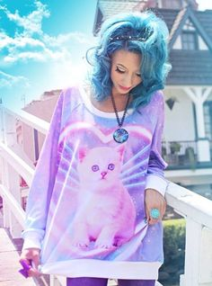 Pastel Goth | Tumblr girls | Blue hair | Cat blouse  | Hipster girl | Dark