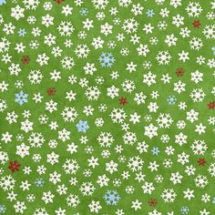 Free printable Christmas gift wrapping paper - snowflakes on green background