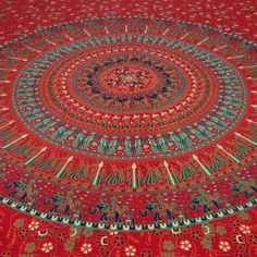 Mandala Red Indian Wall Hanging Cotton Tapestry Twin Size Beach Blanket Tapestri #Handmade #Mandala #BedspreadTapestry
