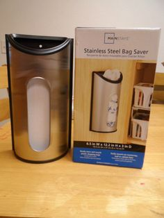 STAINLESS STEEL BAG SAVER.6.5 IN W X 12.2 IN H X 3 IN D. NEW IN BOX
