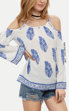 Blue Print in White Cold Shoulder Blouse