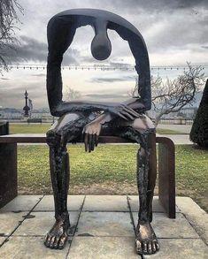 """Melancolie"" sculpture in Geneva - Grief 3d Zeichenstift, Losing A Child, Land Art, Public Art, Oeuvre D'art, Amazing Art, Awesome, Garden Sculpture, Outdoor Sculpture"