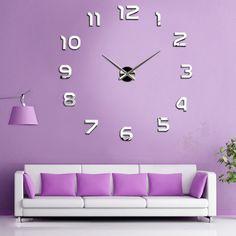 New Fashion Large Number Wall Clock Diy 3D Mirror Sticker Home Decor Art Modern