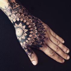 Mandala tattoo design, hand tattoos for guys, unique tattoos, body tattoos Tribal Hand Tattoos, Mandala Hand Tattoos, Geometric Sleeve Tattoo, Hand Tats, Hand Tattoos For Guys, Mandala Tattoo Design, Tattoo Sleeve Designs, Unique Tattoos, Tattoo Designs Men