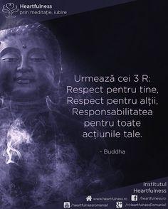 Urmează cei 3 R:  Respect pentru tine,  Respect pentru alții,  Responsabilitatea pentru toate acțiunile tale. ~ Buddha #cunoaste_cu_inima #meditatia_heartfulness #hfnro Meditatia Heartfulness Romania Buddha, Respect, Movie Posters, Movies, Films, Film Poster, Cinema, Movie, Film