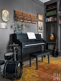 Adding Charm to a Modern Farmhouse is part of Home studio music - Permission to play with color and art Granted! Music Room Art, Home Music Rooms, Music Bedroom, Music Studio Room, Audio Studio, Music Music, Recording Studio, Music Inspired Bedroom, Music Bingo