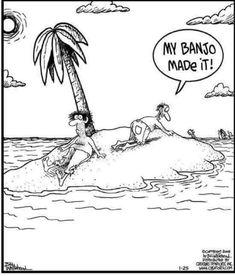 trapped on desert island with. Far Side Cartoons, Funny Cartoons, Funny Comics, Funny Memes, Hilarious, Music Humor, Music Memes, Musician Jokes, Fun Songs