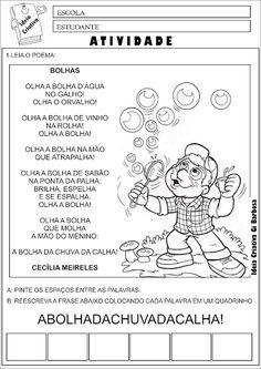 Atividade Poesia Bolhas Cecília Meireles Consciência Fonológica Back To School, Homeschool, Activities, Teaching, Education, Comics, Kids, Face, Poetry Activities