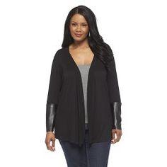 Women's Plus Size Faux Leather Layering Top - U-Knit