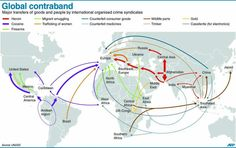 GLOBAL CONTRABAND: Major flows of goods and people by crime syndicates (AFP)