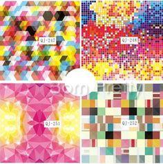 $2.18 1Sheet Colorful Geo Pattern Nail Art Water Decals Transfers Stickers - BornPrettyStore.com