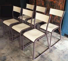 Image of French Vintage Industrial Dining Chairs - Set of 6 Industrial Dining Chairs, Vintage Industrial Furniture, Dining Chair Set, Dining Table, French Industrial, Table Height, Table Seating, Wood Laminate, French Vintage