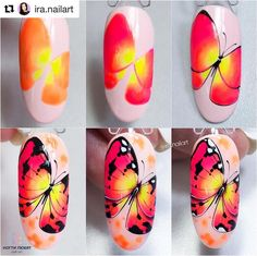 No photo description available. Animal Nail Designs, Butterfly Nail Designs, Butterfly Nail Art, Animal Nail Art, Red Nail Designs, Nagel Bling, Nail Art For Kids, Hello Kitty Nails, City Nails