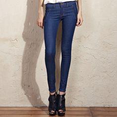 2012 Dark Blue Autumn Mid Waist Pockets Jeans Pants