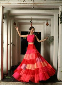 Unique patterned offbeat lehenga choli for this wedding season is being preferred over red. Choose a lehenga that makes everyone's hearts flutter. Multicolored lehenga to slay your bridal look this season. Party Wear Indian Dresses, Designer Party Wear Dresses, Indian Gowns Dresses, Indian Bridal Outfits, Dress Indian Style, Indian Fashion Dresses, Indian Designer Outfits, Indian Wear, Designer Gowns