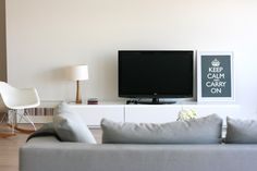 If we move room around, low besta for tv and media with built in behind sofa for storage