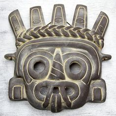 Tlaloc the Rain God from Handcrafted Aztec Cultural ceramic mask from Mexico Native American Pottery, Native American Art, Mayan Glyphs, Art Chicano, Aztec Mask, Ceramic Mask, Aztec Culture, Art Tribal, Mexican Art