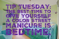 Best time for a Color Street manicure is right before bed, this gives your nails time to fill set before resuming normal activities. Because the strips are dry at application, you don't have to worry about smudges, smears or sheet marks! Dry Nail Polish, Nail Polish Strips, Street Game, Street Smart, Beauty Routine 20s, Street Marketing, Guerrilla Marketing, Coconut Oil Beauty, Nail Time