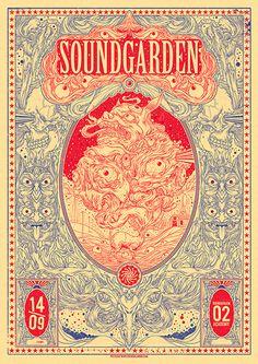 Soundgarden, 2 color concert poster - by Drew Millward Art And Illustration, Musik Illustration, Illustrations Posters, Creative Illustration, Rock Posters, Band Posters, Concert Posters, Gig Poster, Phish Posters
