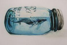 Large Print Humpback Whale in Mason Jar Watercolor by JuliaKodlArt