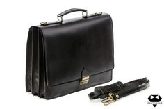"Leather briefcase with removable strap, Black, ""Bergamo"" – Bag Types Important Documents, Leather Briefcase, Business Attire, Suitcase, The 100, Italy, Organizing, Canvas, Elegant"