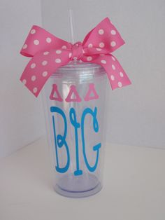 Tri Delta Big  OR Little  Greek Sorority  20 oz Tumbler. $20.00, via Etsy.