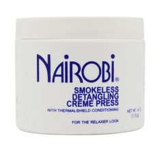 Nairobi Smokeless Detangling Creme Press 4 oz  $5.49 Visit www.BarberSalon.com One stop shopping for Professional Barber Supplies, Salon Supplies, Hair & Wigs, Professional Product. GUARANTEE LOW PRICES!!! #barbersupply #barbersupplies #salonsupply #salonsupplies #beautysupply #beautysupplies #barber #salon #hair #wig #deals #sales #Nairobi #Smokeless #Detangling #Creme #Press
