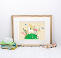Unicorn Print   Gift For Girl  Kids Bedroom by LouiseWrightDesign