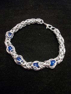 Caged Blue Agate Byzantine Chainmaille Bracelet by GypsyGrove, $18.00