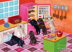 Labrador Kitchen Party by Naomi Ochiai (900×653) - I love these colorful, fun dog paintings! (Helps me equalize out the canines vs felines on this board...lol)