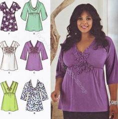 Simplicity 2409 Blouses Women's Plus 20,22,24,26,28,2X,3X,4X Khaliah Ali Collection
