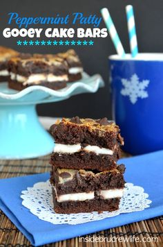 Peppermint Patty Gooey Cake Bars