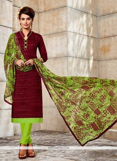Be prepared to slip in the comfort zone of maroon chanderi churidar designer suit. You can see some interesting patterns accomplished with embroidered work. Comes with matching bottom and dupatta. (Sl...
