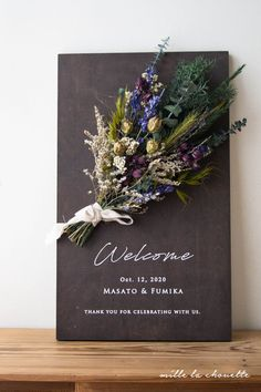 Wedding Welcome Board, Wedding Furniture, Wedding Entrance, Flower Canvas, How To Preserve Flowers, Wedding Confetti, Reception Decorations, Dried Flowers, Wedding Signs