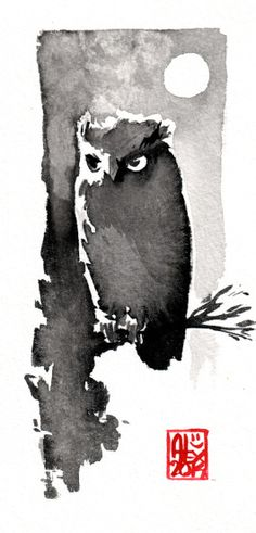 Owl and the full moon  Beautiful monochrome watercolour by ALEX ILLUSTRATEUR http://et-si.net/Blog/aquarelle-hibou-et-pleine-lune/