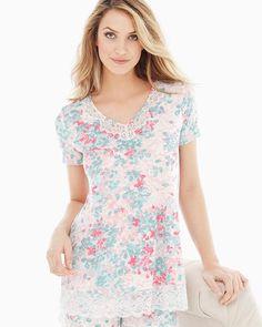 Lace Trim Short Sleeve Pajama Top Lace Petals Ivory