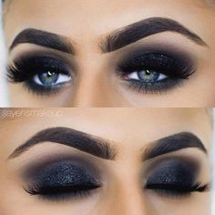 Black Smokey Eyes with Sparkle Black Eye Makeup, Natural Eye Makeup, Dark Makeup, Dark Smokey Eye Makeup, Dark Smoky Eye, Smokey Eyeshadow, Nyx Cosmetics, Eye Makeup Designs, Makeup Ideas