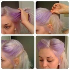 Pin up hair style... AND purple hair! ♡ it.